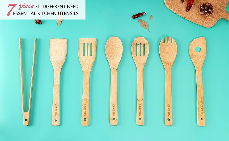 Kitchen Utensil Set Wooden Spoons - 7 pcs