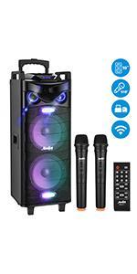 Moukey Karaoke Machine PA System,RMS 280W Bluetooth Karaoke Speaker