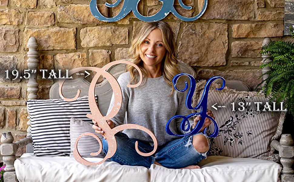 Our 19.5 and 13 Inch tall Vine letters displayed by Kirsten Jones who does our how to videos.