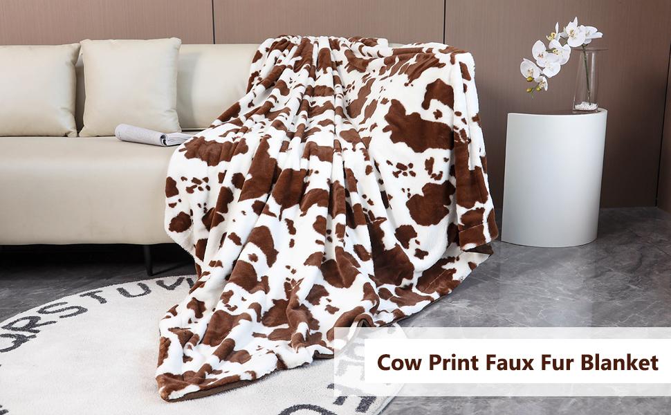 cow print blanket brown faux fur blanket super soft fleece fuzzy throw blanket