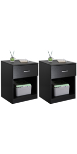 Nightstand with single drawer set of 2