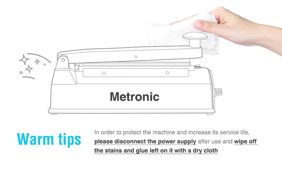 Metronic 8 inch Impulse Bag Sealer Poly Bag Heat Sealer Sealing Machine