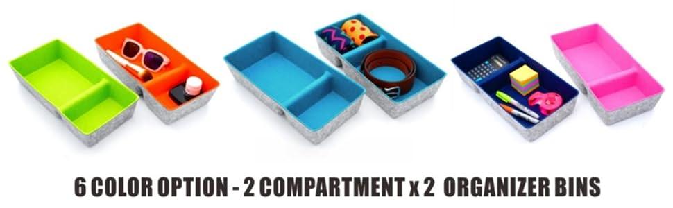 desk drawer organzier bins for pen stationery socks belt ties closet cabinet felt storage bin