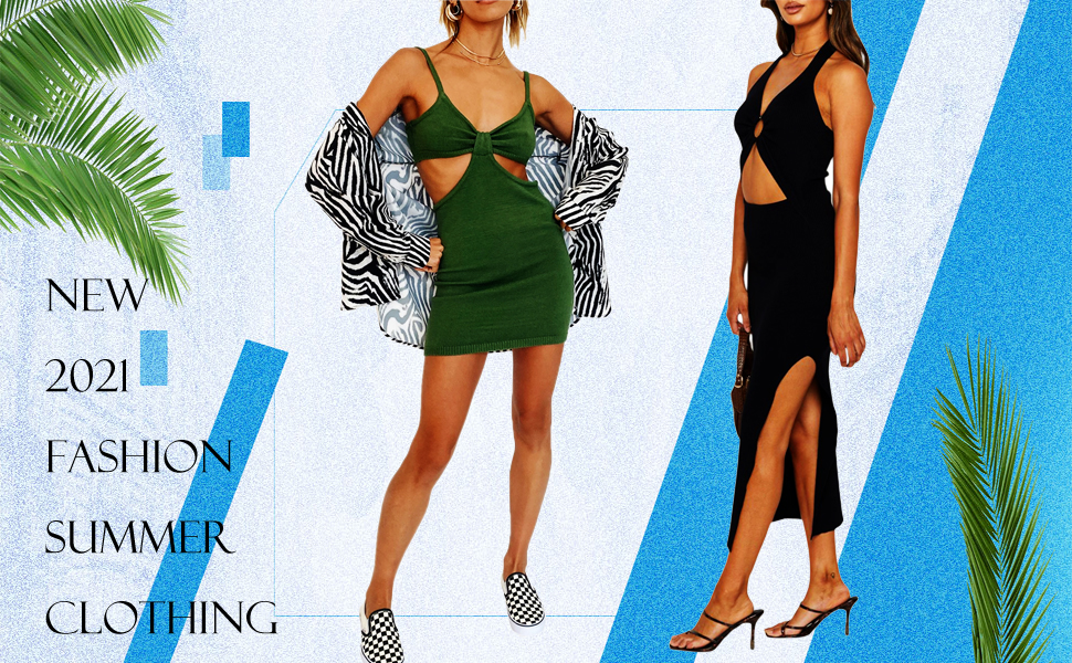 WOMEN SEXY CUTOUT KNITTED MAXI DRESS