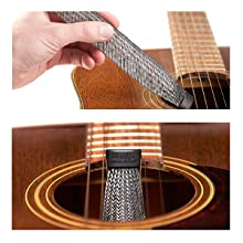 Start humidifying by inserting the humidifier into the sound hole or hang between the strings