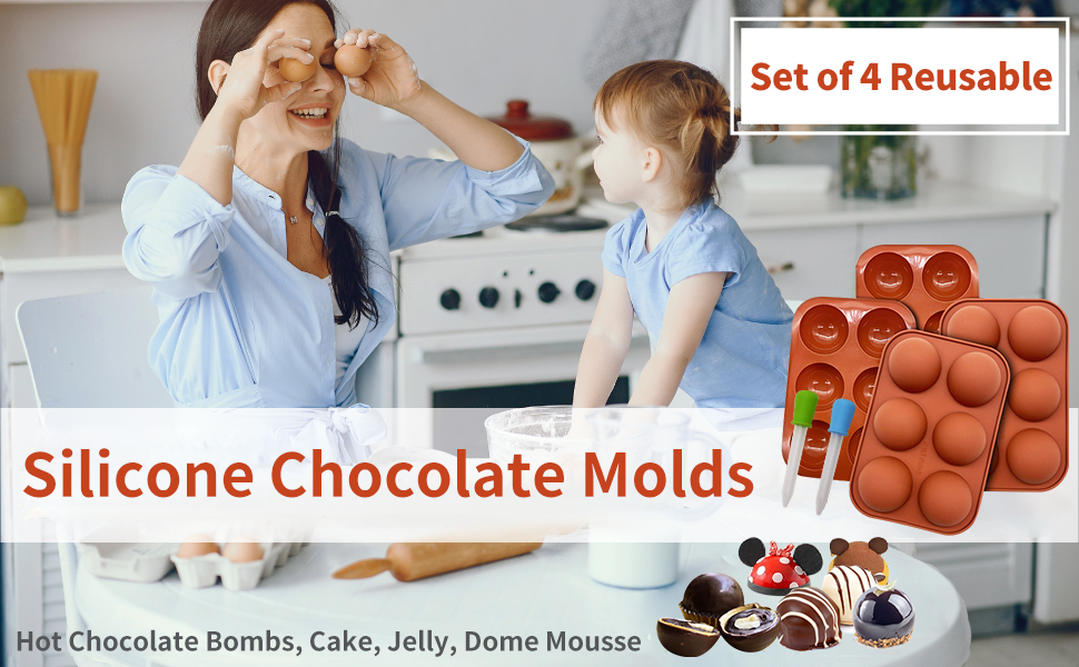 Chocolate Molds Semi Sphere Silicone Molds for Making Hot Chocolate Bombs Dome Mousse Candy Jelly