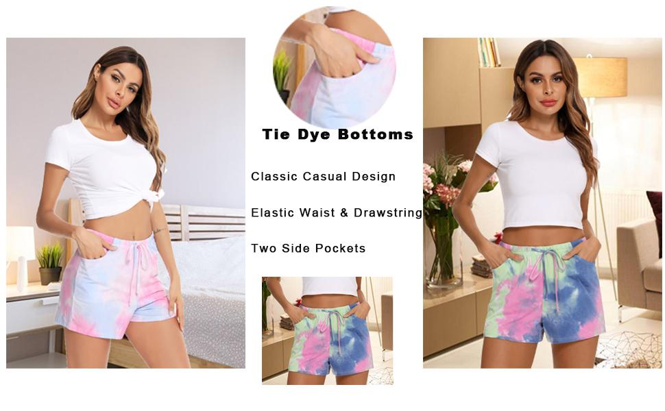 tie dye short Drawstring Pj Bottoms Sleep Pants