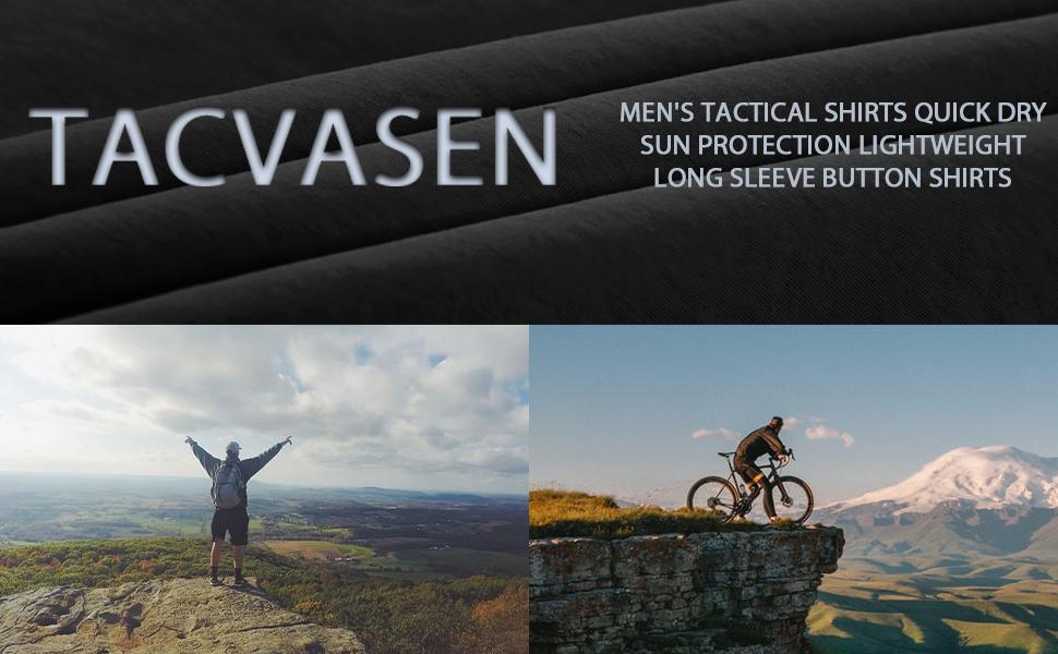 TACVASEN Men's Tactical Shirts Quick Dry Sun Protection Lightweight Long Sleeve Button Shirts