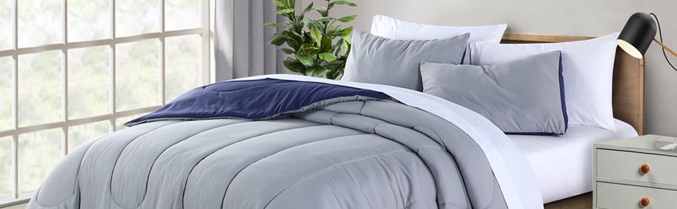 Grey Reversible microfiber 3-Piece comforter