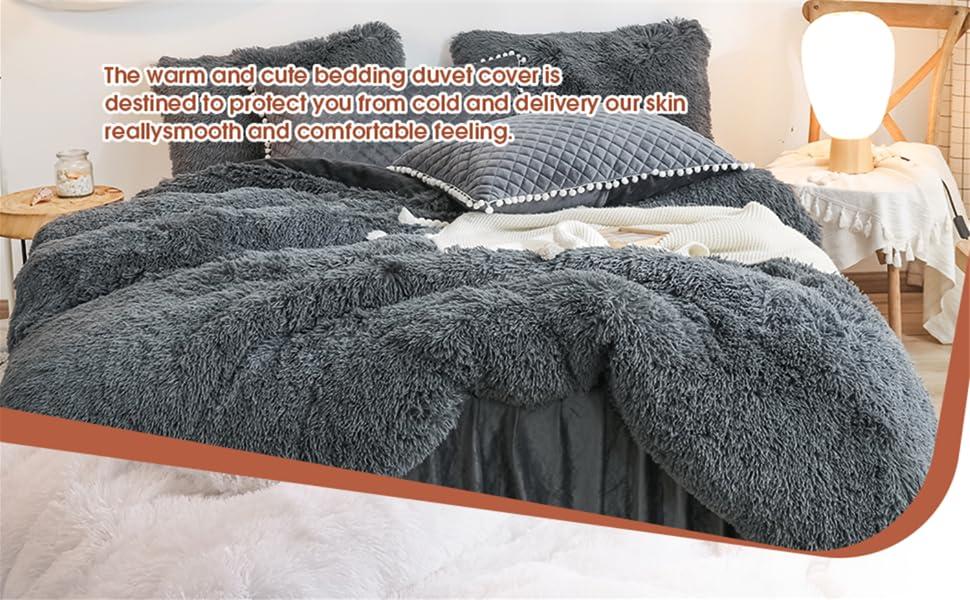 The luxury shaggy mink fur and velvet duvet cover is a superior gift for kids, men, women and elders