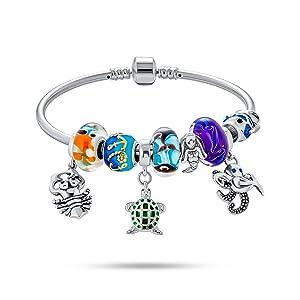 Nautical Tropical Beach Caribbean Honeymoon Vacation Theme Crystal Bead Multi Charm Bangle Bracelet