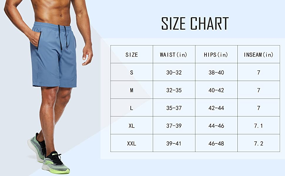 mens workout running shorts for size chart