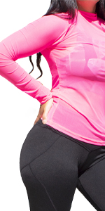 pink sporty mesh long sleeve for swimming running tennis