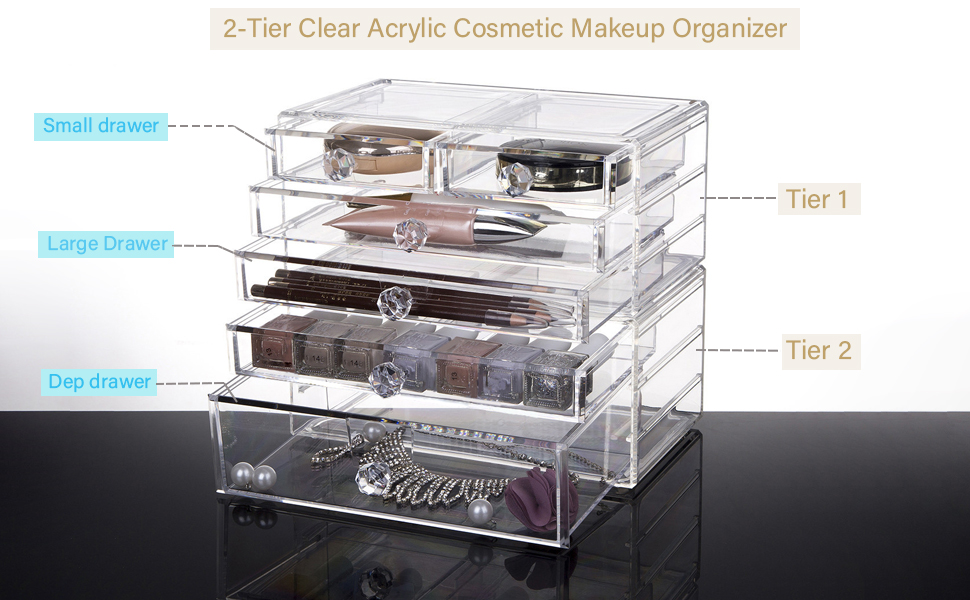 Clear Acrylic Cosmetic Makeup Organiser Storage