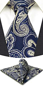 Mens Tie Blue and Gold Paisley