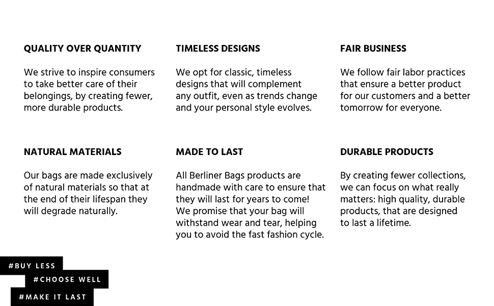 Berliner Bags Slow Fashion Philosophy, six points about our business.
