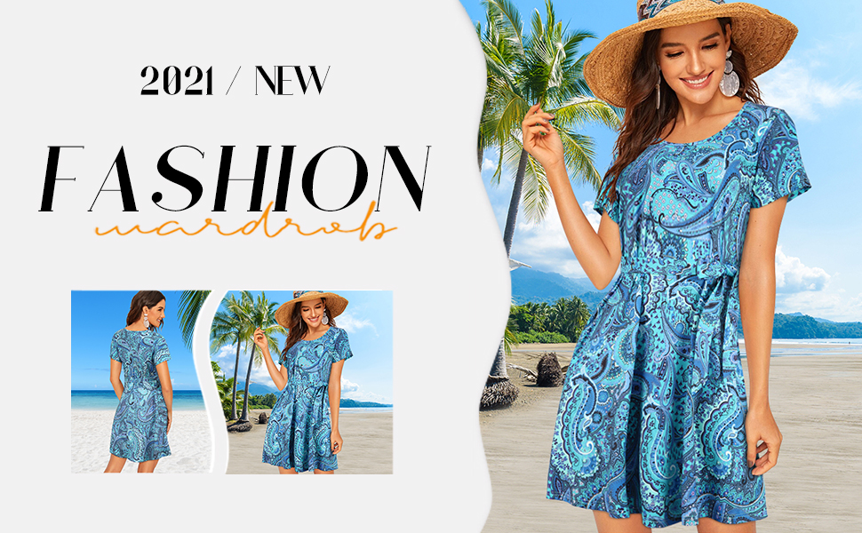 Plus Size Swing Dress with Pockets Summer