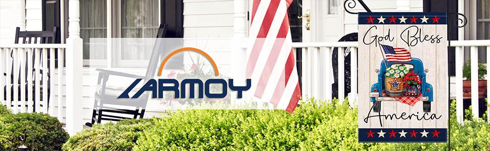 LARMOY 4th of July Patriotic Garden Flag for Outside