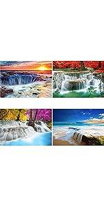 YALKIN waterfall diamond painting 4 pack
