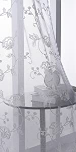 White Sheer Curtains Embroidery 63 Inch Length Rod Pocket Voile Drapes for Living Room, Bedroom