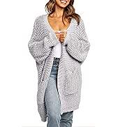 MEROKEETY Women's Oversized Long Batwing Sleeve Cardigan Waffle Knit Sweater Coat