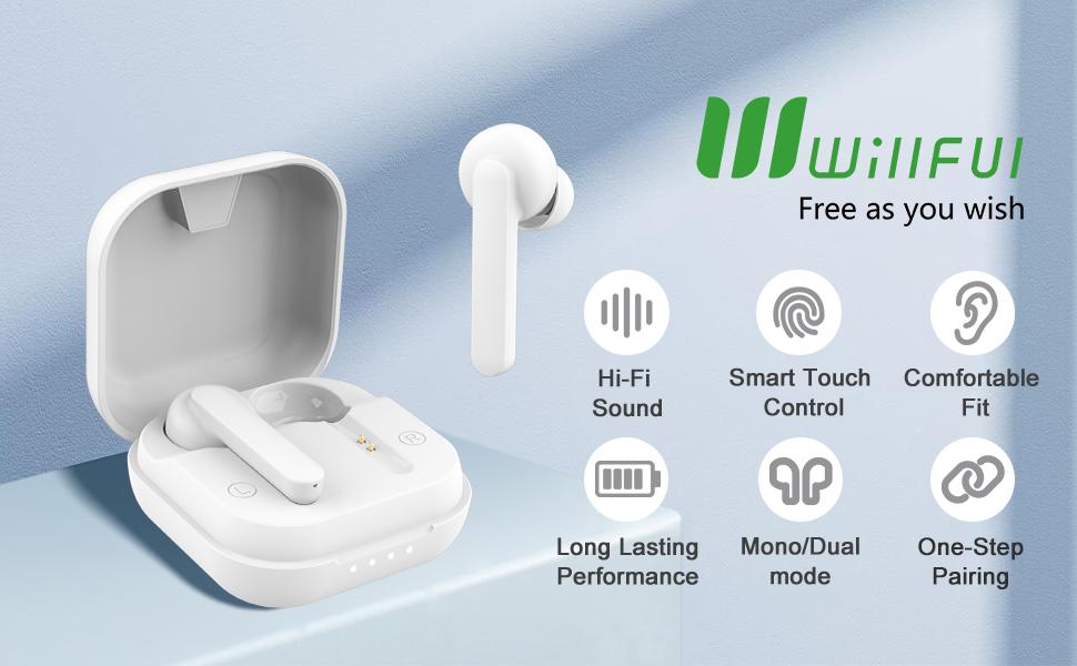 Stereo Sound, Clear Call, Bluetooth V5.0, Waterproof, Secure Fit, in-Ear Headphones Earphones
