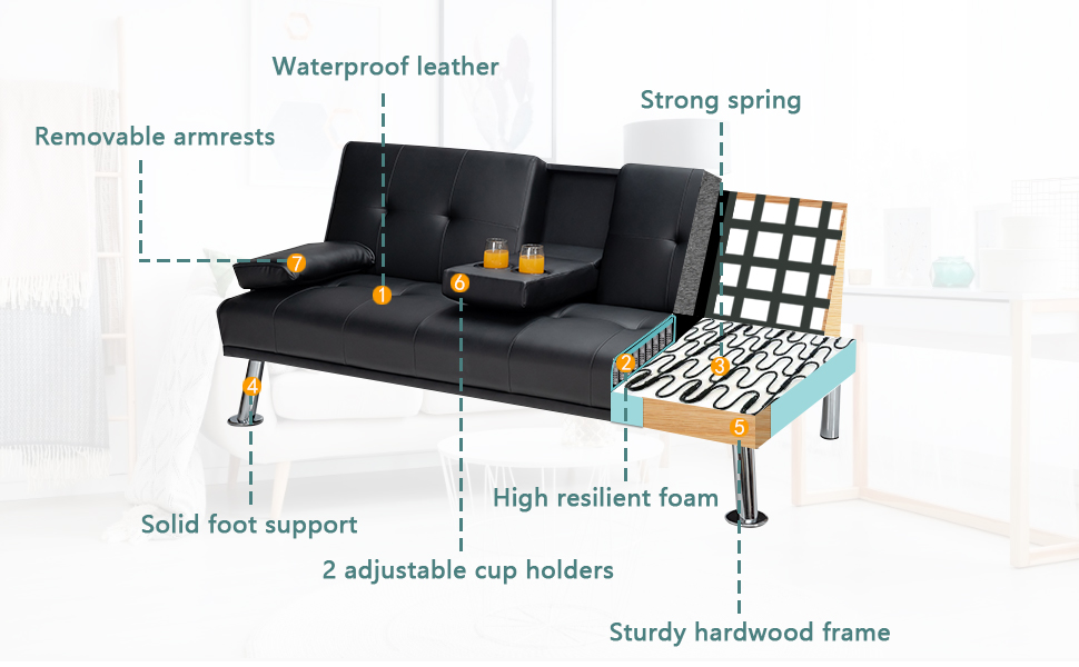 Convertible Folding Couch for Living Room Sectional Sleeper Sofa for Small Space with Cup Holder