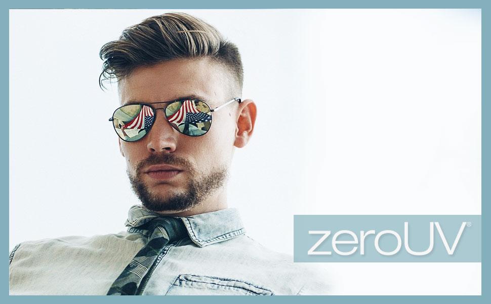 zeroUV aviator silver mirror sunglasses hombre for women round glasses for men protection gami