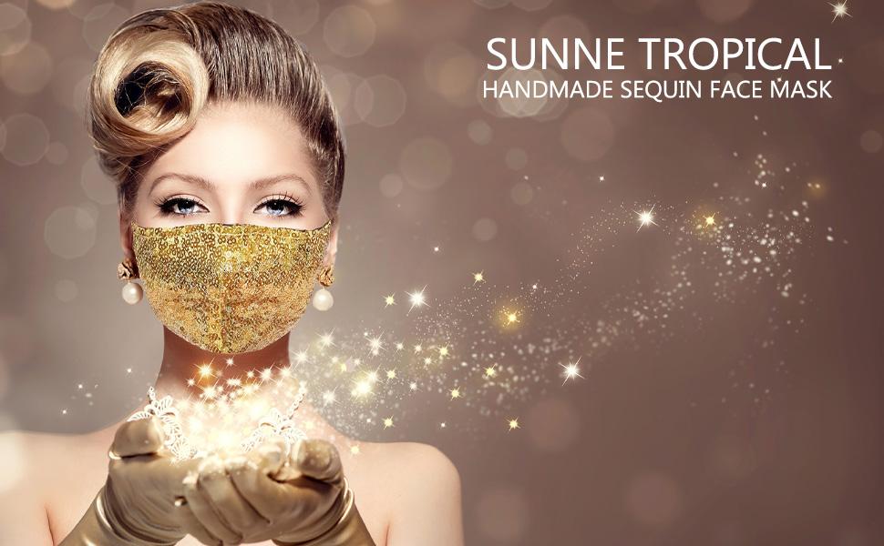 Sunne Tropical Sequin Face Mask Sparkle Blink