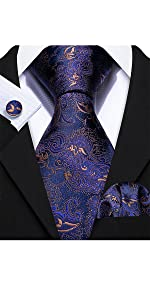 Navy Blue Paisley Silk Tie Set for Men Pocket Square Cufflinks Set