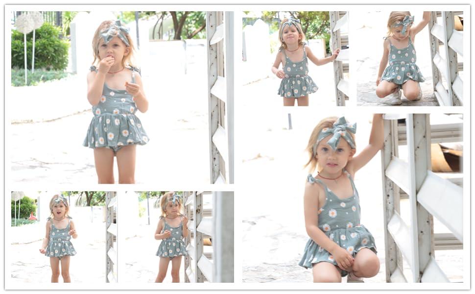 Baby Girl Romper Floral Halter Sleeveless Dress