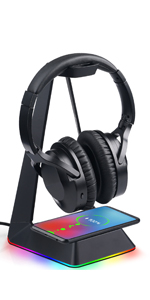 RGB Headset Stand with wireless charger and 3 usb ports F9