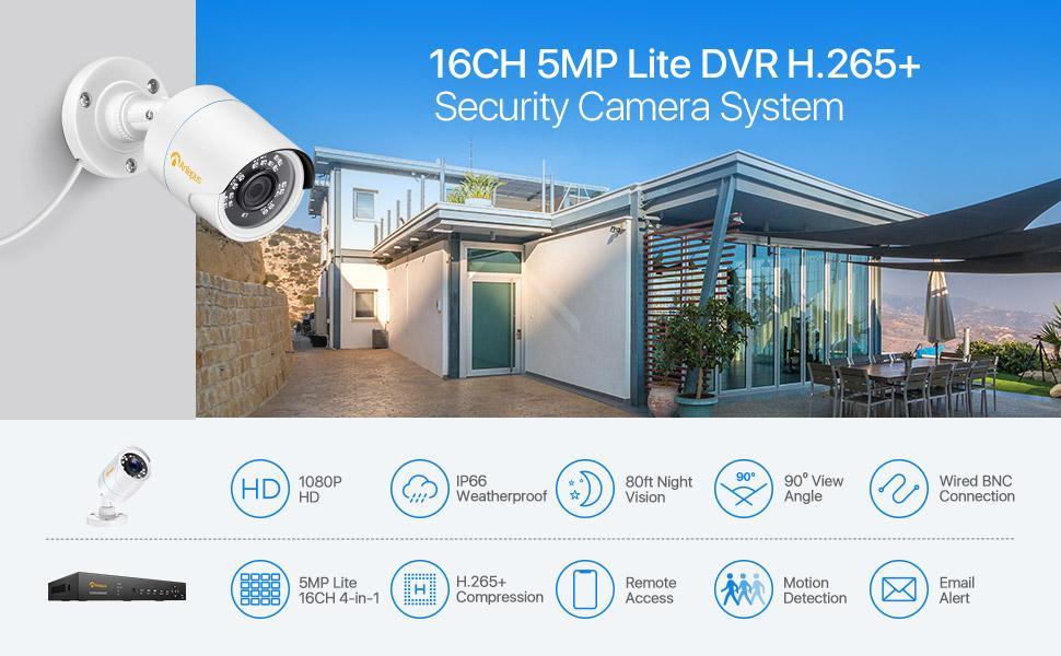 16CH H265+ 4-in-1 security camera system