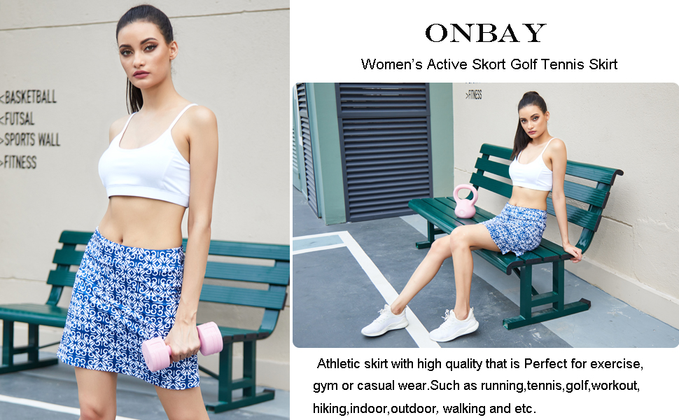 Onbay Women's Active Athletic Skort Lightweight Golf Tennis Skirts with Shorts Sports Running