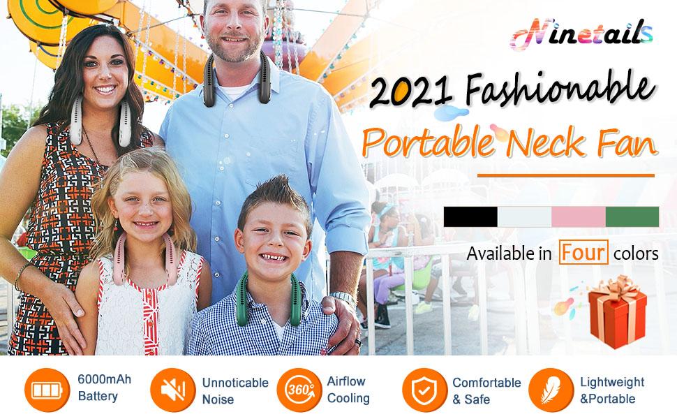 2021 Ninetails Fashionable Portable Neck Fan 3 settings, lightweight, adjustable