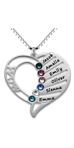 personalized mother necklace with 6 stone engraved names