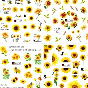 Daisy Nail Summer Nail Design DIY Sunflower Cherry Blossoms Water Sliders Decoration Decals
