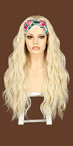 Blonde wavy headband wigs for women