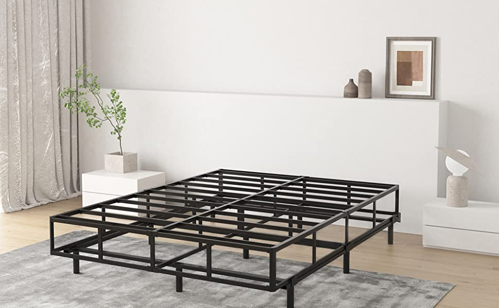 Adjustable Metal Bed Frame for Box Spring, Fits for Full,Queen,King, Cal King Size
