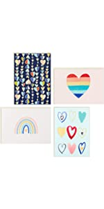 Set of rainbow heart note cards for thank yous, congratulations and encouragement