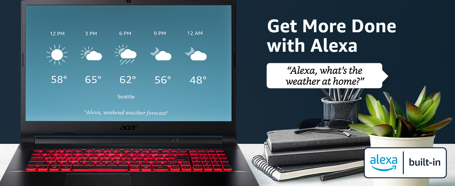 works with alexa voice command skills weather calendar schedule control built in
