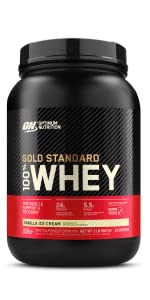 gold standard whey optimum nutrition vanilla ice cream whey drink shake post workout muscle