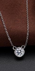 moissanite bezel necklace
