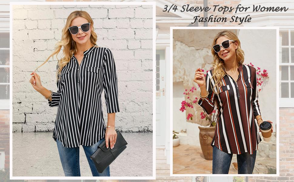 3/4 sleeve shirts for women