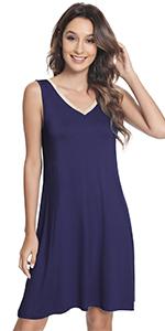 women nightgown bamboo viscose sleepwear sleeveless night shirt saoft loungewear