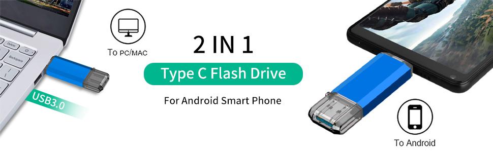 USB C Flash Drive,  2 in 1 OTG Dual Type C Thumb Drive