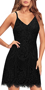MSLG Women Cocktail Dresses Floral Lace Spaghetti Straps Sexy V Neck Back Wedding Guest Dress