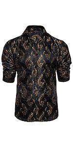 Black and gold floral formal dress shirt long sleeve for men