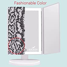 Makeup Vanity Mirror with Lights Magnification 72 LED Lighted Trifold Touch Screen 3 Color, Gift