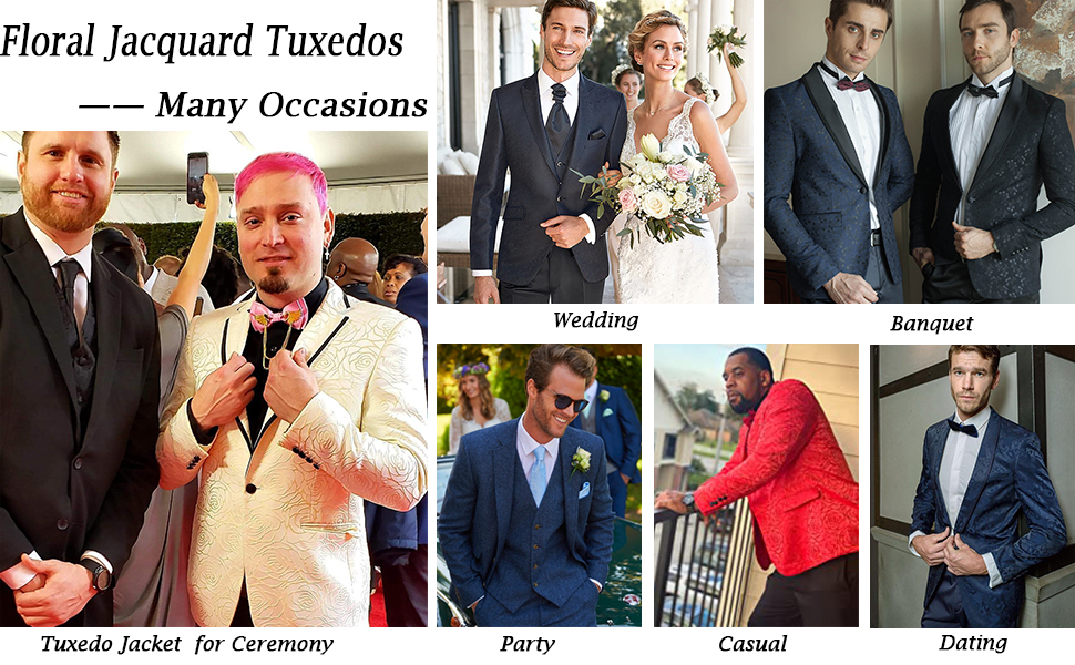 men floral jacquard tuxedos